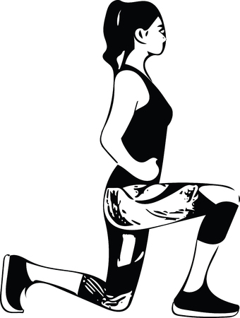 Abstract fitness woman, trained female body illustration.