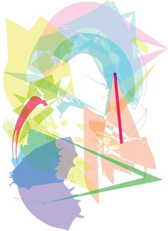 Trendy colorful transparent shapes abstract illustration. 向量圖像