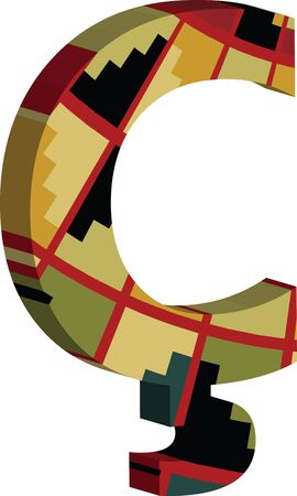 Colorful three-dimensional font Symbol