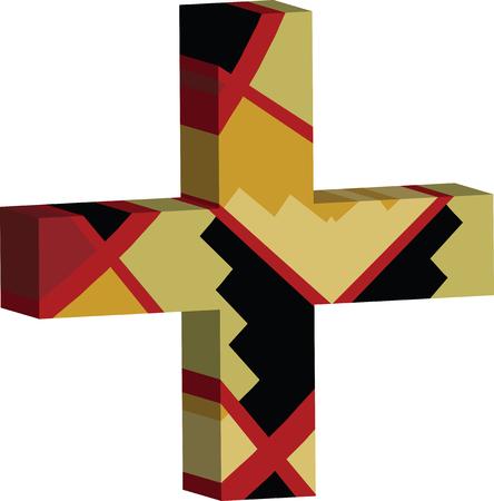 addition: Colorful three-dimensional CROSS Symbol