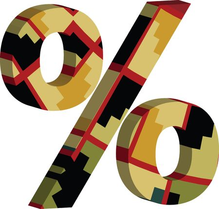 Colorful three-dimensional PERCENT Symbol Illustration