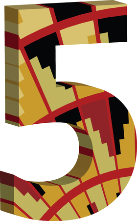 Colorful three-dimensional font number 5
