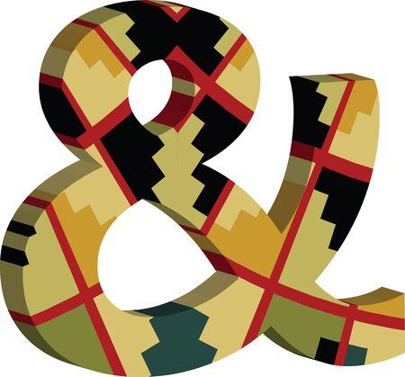 Colorful three-dimensional Ampersand Symbol