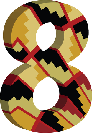 numbers abstract: Colorful three-dimensional font number 8 Illustration