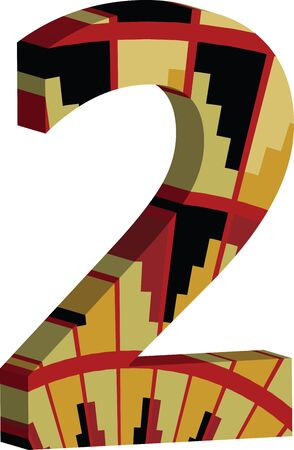 numbers abstract: Colorful three-dimensional font number 2