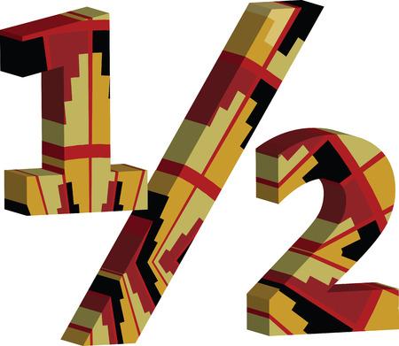 Colorful three-dimensional 12 Symbol
