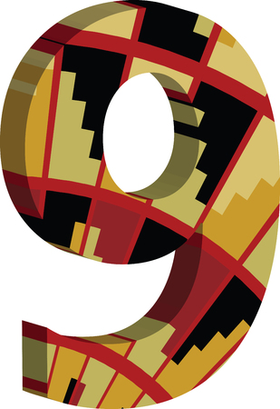 Colorful three-dimensional font number 9 Illustration