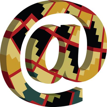 Colorful three-dimensional AT Symbol Illustration