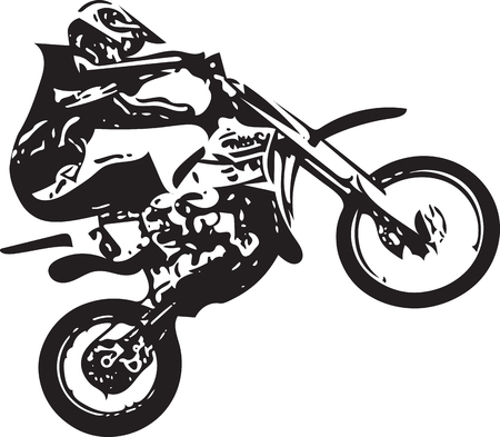 Extreme motocross racer by motorcycle on abstract background