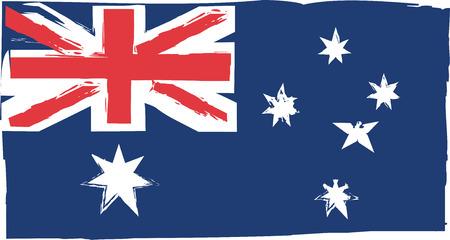 Australia flag or banner brush stroke style  illustration Çizim