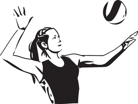 Illustration of volleyball player playing on abstract background Illustration