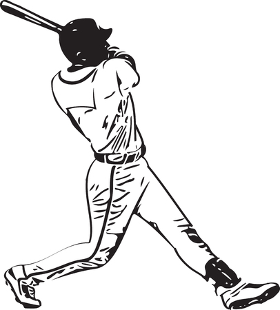 Illustration of baseball player playing with abstract background Illustration