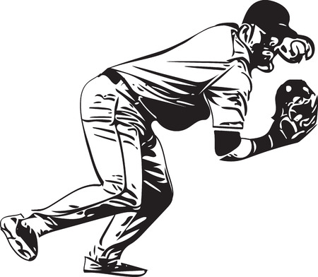 Illustration of baseball player playing with abstract on a white background. Illustration