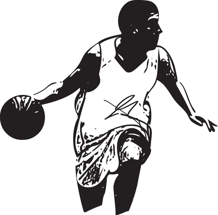 shooting at goal: Sketch of basketball player with abstract on a white background.