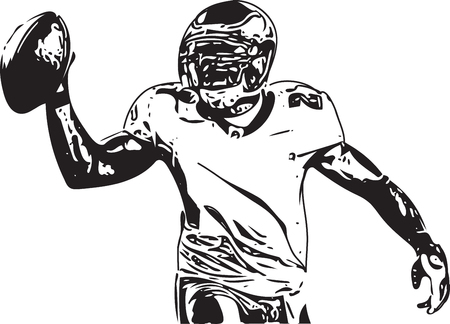 American football player illustration with abstract on a white background. Illustration