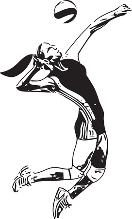 Illustration of volleyball player playing on abstract on a white background. Illustration