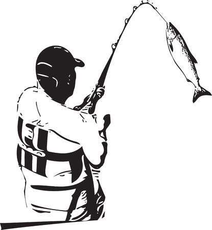 Illustratie van man die van de boot op een witte achtergrond vist. Stock Illustratie