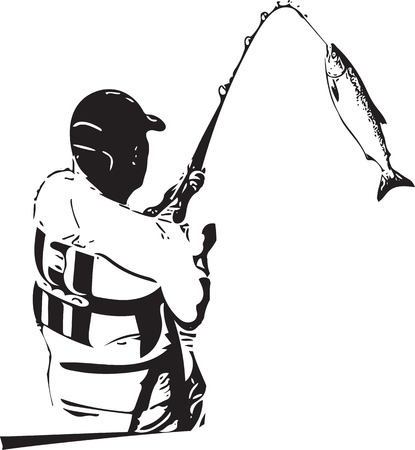 Illustration of man fishing from the boat on a white background. Illustration