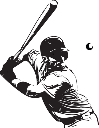 Illustration of baseball player playing with abstract on a white background. Ilustração
