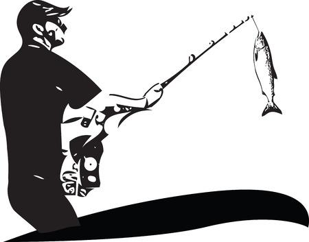 Illustration de l'homme de pêche depuis le bateau sur un fond blanc.