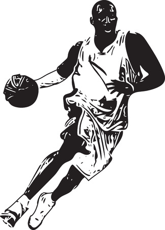 Sketch of basketball player with abstract on a white background.