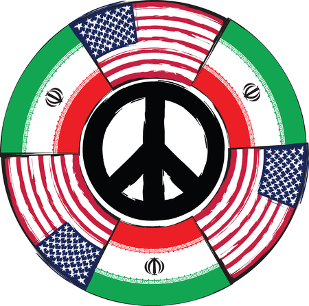 USA and IRAN flags or banner vector illustration