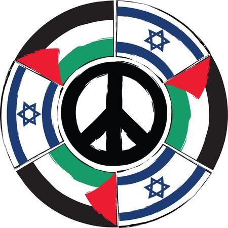 ISRAEL and PALESTINE flags or banner vector illustration Illustration