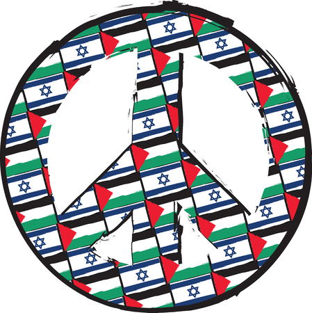ISRAEL and PALESTINE flags or banner PEACE & LOVE SYMBOL vector illustration