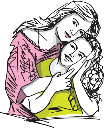 Sketch of  mother and child Illustration