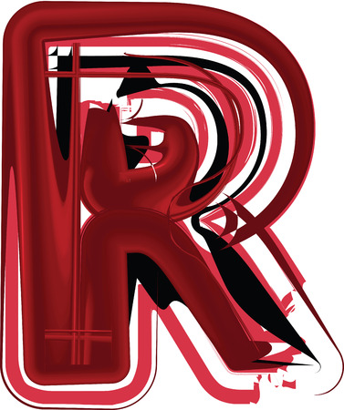 Abstract uppercase letter R illustration Çizim