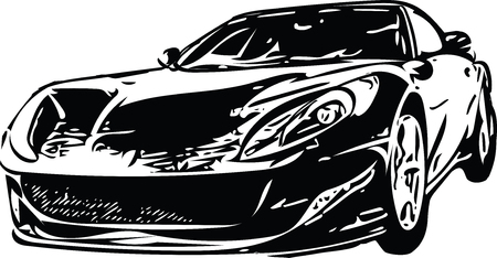 Concept Sportscar Vehicle Silhouette vector illustration Illustration