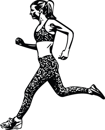 Drawing of running woman. Silhouette vector illustration.