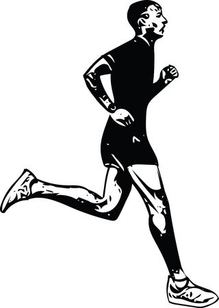Drawing of running man. Silhouette vector illustration.
