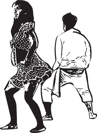 Drawing of couples dancing vector illustration