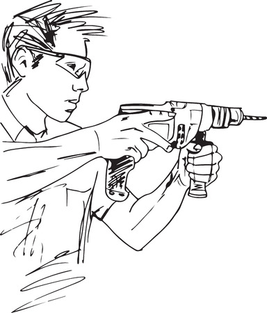 Sketch of manual worker with electric drill vector illustration