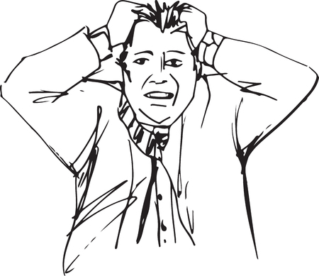 Sketch of frustrated with problems business man vector illustration