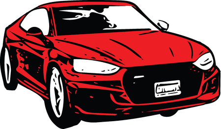 Concept Red Sportscar Vehicle Silhouette vector illustration