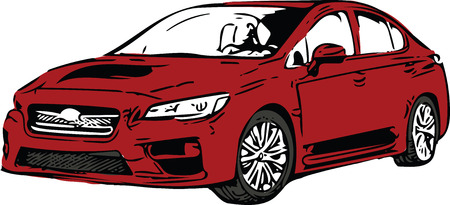 Concept Red Sport scar Vehicle Silhouette vector illustration