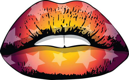 Abstract colorful woman lips vector illustration.