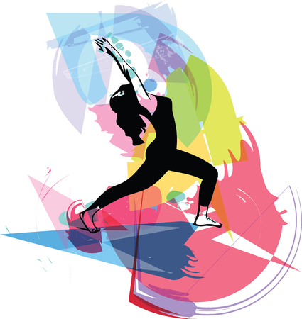Abstract illustration of Beautiful sporty fit, woman practices yoga.