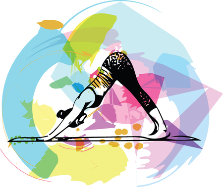 Abstract illustration of beautiful sporty fit  woman practices yoga.