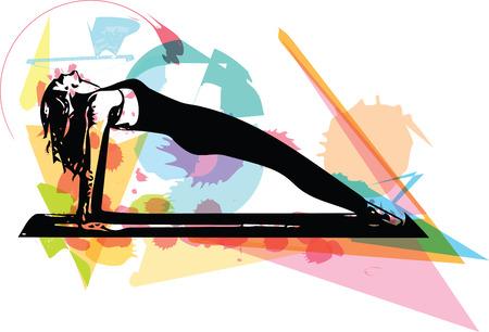 美しいスポーティフィット女性の抽象的なイラストは、ヨガを練習します。