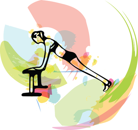 Abstract illustration of Beautiful sporty fit woman.
