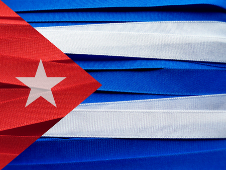 Cuba flag or banner made with red, blue and white ribbons