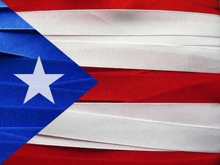 Puerto Rico flag or banner made with red, blue and white ribbons Stock Photo
