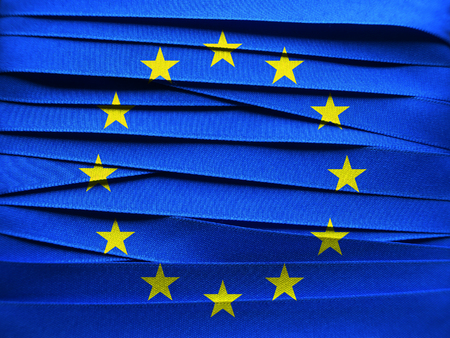 EUROPEAN UNION flag or banner made with blue ribbon
