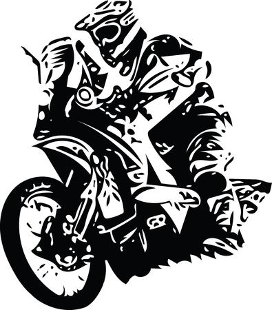 Ilustración abstracta de Extreme motocross racer en moto