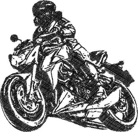 Abstract illustration of Extreme motocross racer by motorcycle