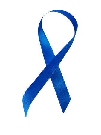 Blue ribbon awareness isolated on white background. Stock Photo