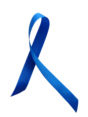 Blue ribbon awareness isolated on white background. Clipping Path included